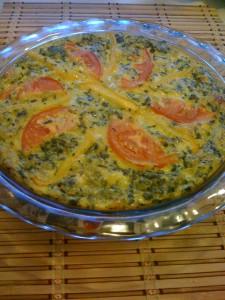 Gluten free roasted tomato basil spinach quiche