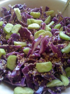 Gluten free crisp, delicious, cucumber red cabbage salad